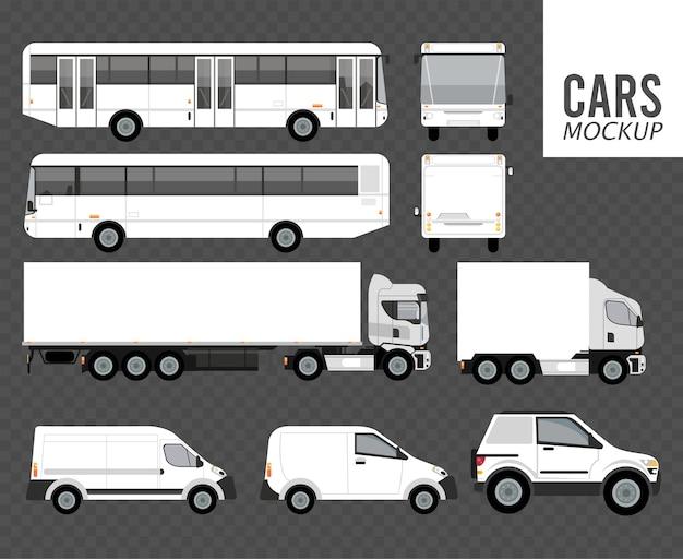 Mockup de color blanco vehículos de grupo de automóviles en fondo gris