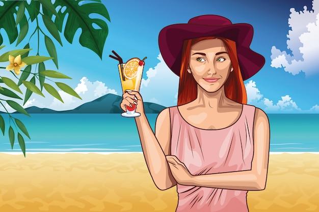 Moda de arte pop y dibujos animados de mujer hermosa