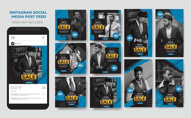 La moda azul moderna establece historias de instagram en las redes sociales