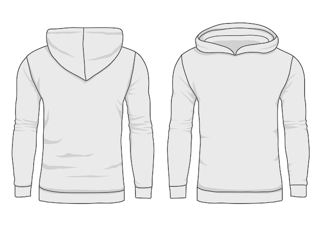 Moda con capucha para hombre, plantilla de sudadera. maqueta de ropa de abrigo realista vista frontal y posterior.