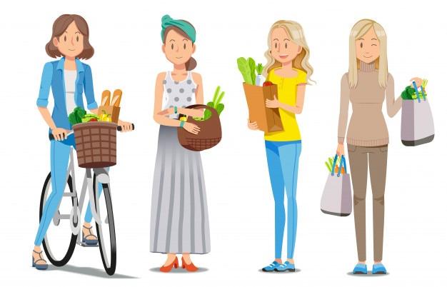 Moda de compras en el supermercado en relajación