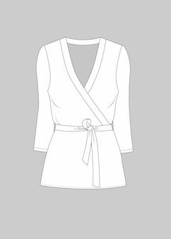 Moda corbata cintura v cuello blusa vectorial