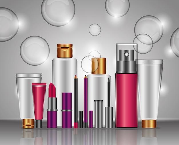 Moda cosmética maquillaje moda conjunto ilustración vectorial