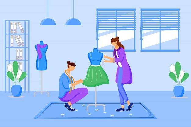 Moda ers atelier ilustración en color. creación de vestimenta exclusiva en taller. diseño y costura de ropa en personajes de dibujos animados de estudio a medida sobre fondo azul.