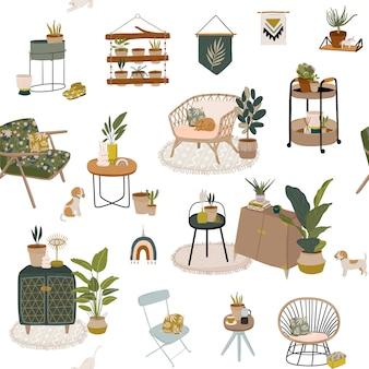Moda escandinavo urban home jungle interior de patrones sin fisuras con decoraciones para el hogar. acogedor home garden amueblado en estilo hygge.