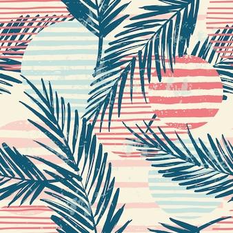 Moda exótica de patrones sin fisuras con la palma y elementos geométricos.