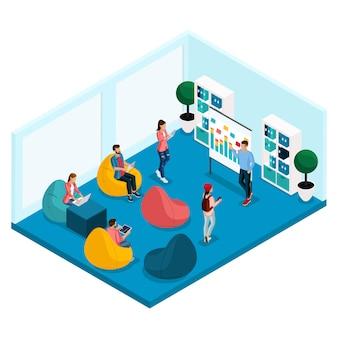 Moda isométrica personas y gadgets, sala de coworking center, una oficina de educación, formación, sillones, computadora portátil, trabajando