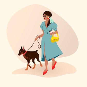 Moda joven caminando un doberman y sosteniendo una taza de café. ilustración de moda plana