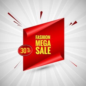 Moda mega venta banner colorido diseño vectorial
