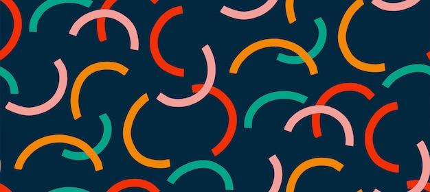 Moda memphis estilo de patrones sin fisuras. coloridos patrones geométricos sin fisuras en los estilos de los años 80-90.