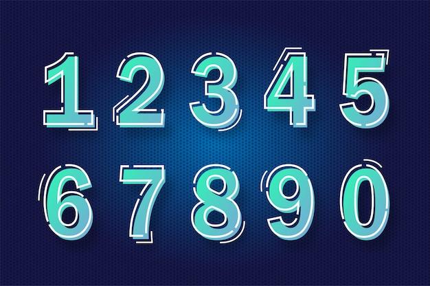 Moda moderna gradiente alfabeto número papel cortado estilo