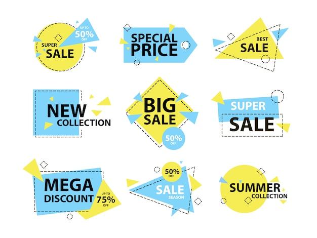 Moda moderna venta geométrica insignia y conjunto de etiquetas.