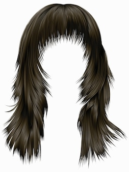 Moda mujer pelos largos morena marrón oscuro