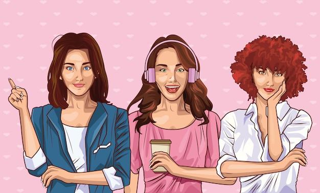 Moda pop art y dibujos animados de mujeres hermosas