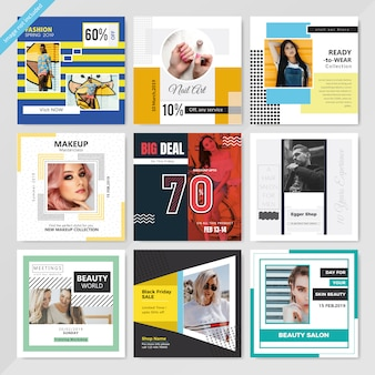 Moda social media post template para marketing