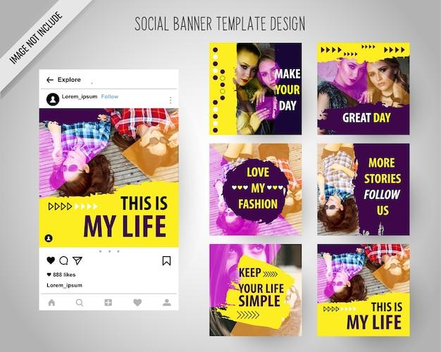 Moda sociales banderas medios de comunicación para marketing digital
