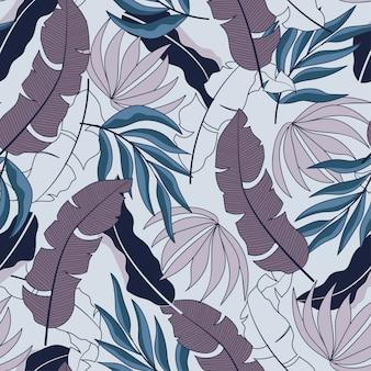 Moda tropical de patrones sin fisuras con hermosas hojas y plantas de color púrpura y azul