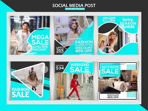 Moda venta banner cuadrado o instagram post plantilla conjunto