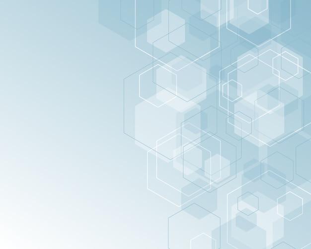 Modelo abstracto del hexágono con el fondo del espacio de la copia, color blanco azul suave.