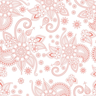Modelo adornado floral rosado en el fondo blanco