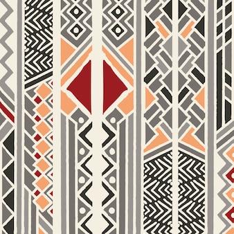 Modelo bohemio colorido étnico tribal con elementos geométricos, paño de barro africano, diseño tribal