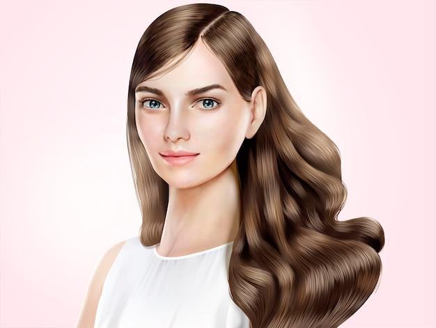 Modelo de cabello atractivo, hermosa mujer con cabello largo brillante