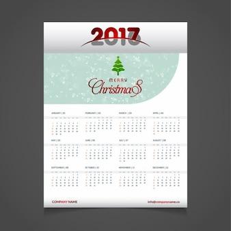 Modelo de calendario 2017 con árbol de navidad