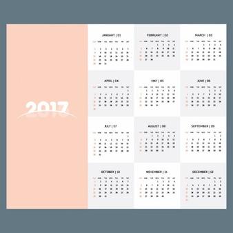 Modelo de calendario 2017 en color pastel