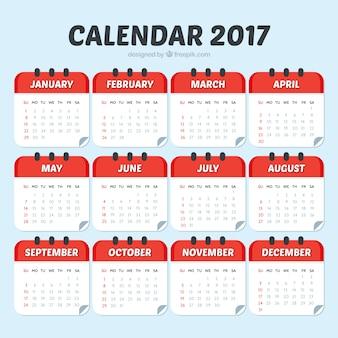 Modelo de calendario 2017 de color rojo