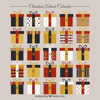 Modelo de calendario de adviento con cajas de regalo