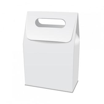 Modelo de cartón blanco en blanco para llevar caja de comida. plantilla de contenedor de producto vacío, ilustración