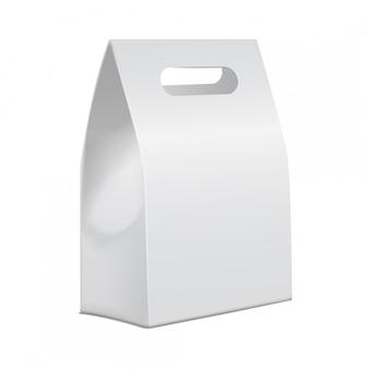 Modelo de cartón blanco para llevar caja de comida. plantilla de contenedor de producto vacío, ilustración