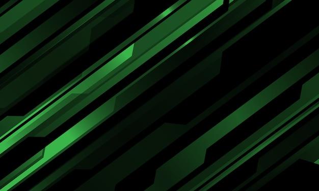 Modelo cibernético metálico verde abstracto en el ejemplo futurista negro del fondo de la tecnología moderna.