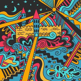 Modelo colorido lindo del castillo mágico del bosquejo del doodle aislado