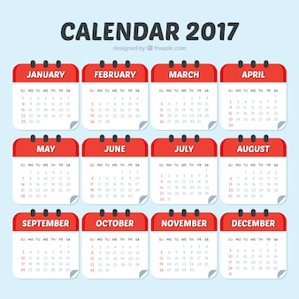 Modelo de calendario 2017 de color rojo