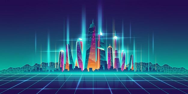 Modelo de dibujos animados virtual de metrópolis del futuro.