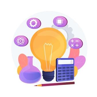 Modelo educativo stem. programa de aprendizaje, campos de estudio básicos, asignaturas escolares. bombilla con iconos de ciencia, tecnología, ingeniería y matemáticas.