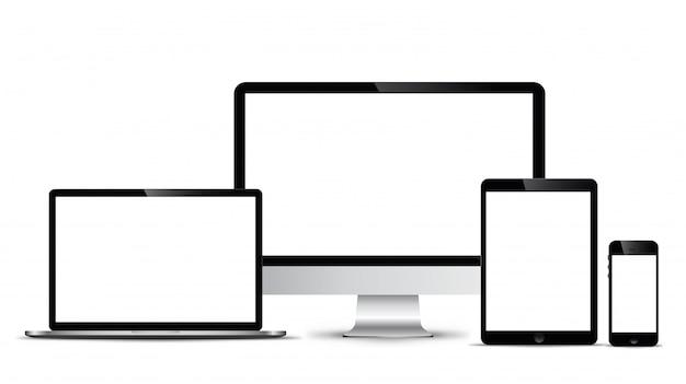 Modelo electrónico de tecnología moderna, teléfonos inteligentes, tabletas, ordenadores y portátiles.