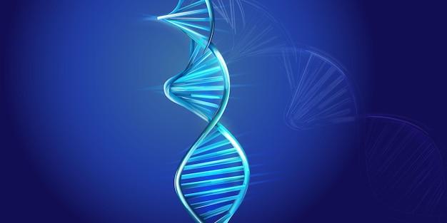Modelo de espiral de adn sobre un fondo azul.