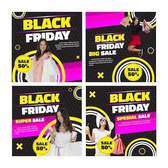 Modelo femenino viernes negro publicación de instagram