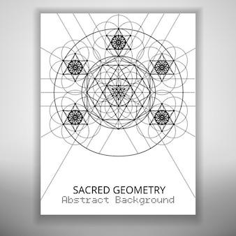 Modelo de folleto abstracto con dibujo de geometría sagrada