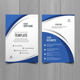 Modelo de folleto azul y blanco ondulado