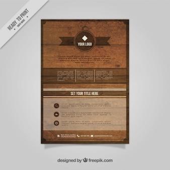 Modelo de folleto de madera de negocio