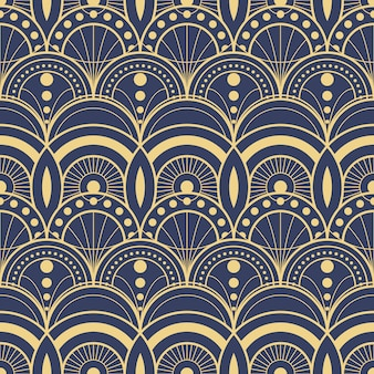 Modelo geométrico moderno azul marino abstracto de las tejas del art déco