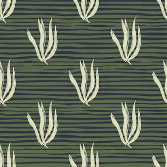 Modelo inconsútil de las algas marinas abstractas de la vendimia en el fondo de la raya. telón de fondo de follaje submarino. papel pintado de plantas marinas. diseño para tela, estampado textil, envoltura, funda. ilustración vectorial.