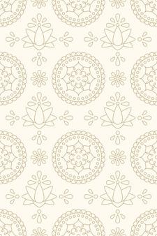 Modelo inconsútil asiático con loto y motivos florales