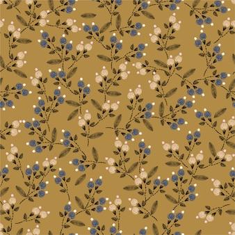 Modelo inconsútil del bordado de la puntada de la mano de vintge con el pequeño ejemplo del vector de la decoración de las flores de la libertad. diseño para la decoración del hogar, moda, tela, envoltura, papel tapiz y todas las impresiones