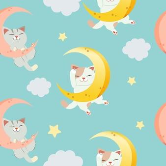 El modelo inconsútil para el carácter del gato lindo que se sienta en la luna. el gato durmiendo y sonriéndole.