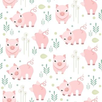 Modelo inconsútil del cerdo lindo en el fondo blanco. patrón animal de granja