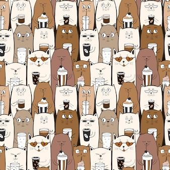 Modelo inconsútil divertido con los gatos lindos del doodle